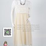 an024 - ชุดไปงานแต่ง(สาวอวบใส่ได้ค่ะ) ผ้าซีฟองสีครีม ดีไซน์ย่นช่วงอก+ลูกไม้สีขาว สวยเรียบหรูดูดีค่ะ