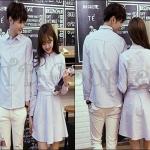 PRE-ORDER ชุดคู่รักน่ารัก เกาหลีใหม่แฟชั่นเชิ้ตชุดลายแนวตั้ง ญ.เดรสสั้น/ช.เสื้อเชิ้ตแขนยาว