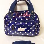 กระเป๋า Chalita wu + สายสะพาย สีน้ำเงิน ลายจุดใหญ๋