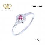 แหวนทองคำขาว ประดับเพชร CZ แหวนทรงกลม ประดับพลอยกลมเหลี่ยมเกสรสีชมพู ล้อมรอบฝังเพชรกลมขาว เปล่งประกายเจิดจรัส แวววับงามจับใจ