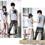เสื้อยืดคู่รัก ชุดคู่รัก เสื้อคู่ เสื้อคู่รักเกาหลี เสื้อยืดคู่รัก สีเทา สกรีนลาย ดาวสีดำ