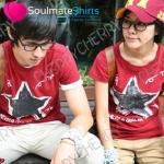 เสื้อคู่ เสื้อคู่รัก ชุดคู่รัก  เสื้อยืดคู่รัก ผู้ชาย +ผู้หญิง เสื้อยืดคอกลมสีแดง ผลิตจากผ้า cotton 100%
