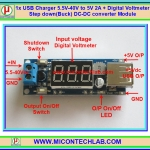 1x USB Charger 5.5V-40V to 5V 2A + Digital Voltmeter Step down(Buck) DC-DC converter Module