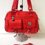 กระเป๋าถือ+สะพาย Lingky ผ้าปัก สีแดง