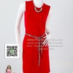 pd2623 - เดรสสั้น แขนกุดผ้าเกาหลีสีแดง ตกแต่งด้วยคริสตัส สวยใส่สบายๆค่ะ