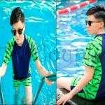 PRE-ORDER ชุดว่ายน้ำทอมแฟชั่นใหม่ เสื้อคอกลมแขนสั้นมาพร้อมกับกางเกงขาสั้น ชุดว่ายน้ำสำหรับทอมโดยเฉพาะ
