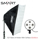 Continuous Lighting E27 Bulb x4 Holder With Softbox 60x90cm