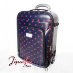 กระเป๋าเดินทาง มีคันชักและล้อลาก สีกรม ลายจุด