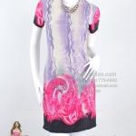 ws025 - เดรสสั้น แซกสั้น(สำหรับสาวตัวเล็กๆ) ผ้ายืดเกาหลีพิมพ์ลายโทนม่วง ซับในทั้งตัว ผ้าลายเชิงสวยๆค่ะ