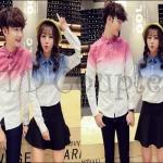 PRE-ORDER เสื้อเชิ้ตคู่รัก เกาหลีใหม่เสื้อแจ็คเก็ตเชิ้ตแขนยาวสีพื้นเรียบ ญ/ช.เสื้อเชิ้ตแขนยาว