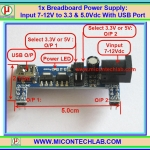 1x Breadboard Power Supply: Input 7-12V to 3.3 & 5.0Vdc With USB Port
