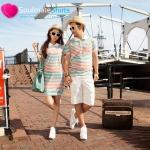 ชุดคู่รัก เสื้อคู่รักเกาหลี เสื้อผ้าแฟชั่น ชุดคู่รัก Colorful ชายเสื้อคอปกลายสีสัน หญิงเดรสคอปกลายสีสัน สะดุดตา