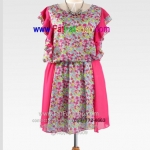 f044-45-50-ชุดเดรสคนอ้วน ผ้าซีฟองสีชมพู แต่งระบายด้านข้างพร้อมผ้าตัดต่อลายดอก อก 50 นิ้ว