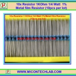 10x Resistor 1 KOhm 1/4 Watt 1% Metal film Resistor (10pcs per lot)
