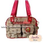กระเป๋าถือ+สะพาย ผ้าทอ Lingky สีน้ำตาล ขลิบแดง