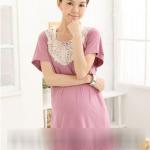 ชุดเดรสคลุมท้องแฟชั่นเกาหลี สีชมพูอมม่วง มีระบายชายกระโปรง ประดับลูกไม้ช่วงอก น่ารักคะ