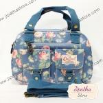 กระเป๋า Chalita wu + สะพาย สีฟ้า ลายดอกไม้