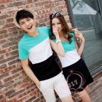 เดรสคู่รัก ชุดคู่รักเกาหลี COLORFUL (สีเขียวอ่อน-ขาว-ดำ) ผู้ชายเสื้อยืด ผู้หญิงเดรสแขนกุด ลายขวางสามสี ผ้านิ่มใส่สบายมากค่ะ
