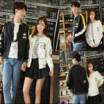 PRE-ORDER เสื้อกันหนาวคู่รัก เสื้อแจ็คเก็ตผ้าฝ้ายคลุมคู่รักน่ารักๆ ญ/ช.เสื้อแจ็คเก็ตแขนยาว