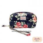 กระเป๋าสตางค์ Chalita wu สีกรม ลายดอกไม้