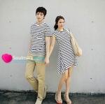 เสื้อคู่ เสื้อคู่รัก ชุดพรีเวดดิ้ง ชุดคู่รัก เสื้อคู่รักเกาหลี เสื้อผ้าแฟชั่น ผู้ชาย +ผู้หญิง เสื้อแขนสั้น + เดรส ลายขวาง ขาวดำ