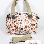 กระเป๋า Chalita wu + สายสะพาย สีครีม ลายซากุระ
