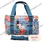 กระเป๋า Chalita wu + สายสะพาย 3 ซิป สีฟ้า ลายดอกไม้