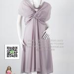 an021 - ชุดไปงานแต่ง (สาวอวบใส่ได้)ผ้าซีฟองสีเทา ช่วงอกดีไซน์ไข้ว สวยเรียบร้อยสุดๆค่ะ