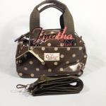 กระเป๋า Chalita wu + สะพาย 2 ซิป สีน้ำตาล ลายจุด