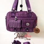 กระเป๋าถือ+สะพาย Lingky ผ้าปัก สีม่วง