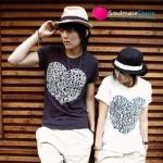 เสื้อคู่รัก ชุดคู่รัก เสื้อยืดคู่รัก รูปหัวใจ สีขาว-ดำ