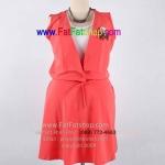 f041-45-50-เสื้อผ้าคนอ้วน เดรสแขนกุดไซส์ใหญ่ ผ้าหางกระรอก สีส้ม ยางยืดช่วงเอว สวยน่ารักใส่สบายๆค่ะ รอบอก 46 นิ้ว