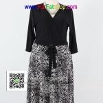 f036-45-50- ชุดขาวดำ ไซส์ใหญ่ ผ้าเกาหลี เดรสทูโทนแขนสามส่วน ช่วยเสื้อดีไซน์ป้าย ช่วงกระโปรงพิมพ์ลายขาวดำ รอบอก 38 - 46 นิ้ว