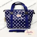 กระเป๋า Chalita wu + สะพาย สีน้ำเงิน ลายจุด