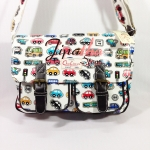 กระเป๋าสะพาย Chalita wu สีขาว ลายรถ