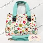 กระเป๋า Chalitawu 2 ช่อง + สายสะพาย ทรงเหลี่ยม สีขาว ลายดอกไม้หลากสี