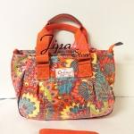กระเป๋าถือ+สะพาย ทรงกระโปรง Chalita wu สีส้ม ลายหางนกยูง