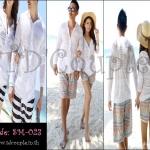 PRE-ORDER เสื้อคลุมบางว่ายน้ำคู่รัก ญ/ช.เสื้อแจ็คเก็ตคลุมบางชายหาด สีขาว รวม 2 ชิ้น