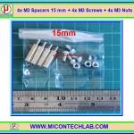 4x M3 Spacers 15 mm + 4x M3 Screws + 4x M3 Nuts (เสารองพีซีบีแบบปลายผู้เมีย 15 มม)