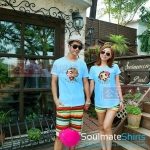 เสื้อคู่ เสื้อยืดคู่รัก ชุดคู่รัก เสื้อคู่รักเกาหลี เสื้อยืดคู่รักสีฟ้า สรีนลายลิงน้อยขี้อ้อน