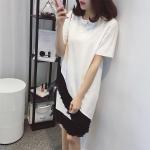 Pre-Order เดรสยาวชายกระโปรงแต่งระบาย ผ้าคอทตอน สีขาว (ไซส์ XL,XXL,)