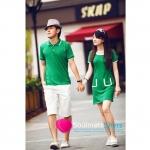ชุดคู่รัก เสื้อคู่รักเกาหลี เสื้อผ้าแฟชั่น ชุดคู่รักสีเขียว ชายเสื้อคอกปก  หญิงเดรสคอปก แขนสั้น ประดับกระเป๋าที่กระโปรงดูเก๋ไก๋