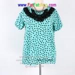 fa007-46- เสื้อคนอ้วน ผ้าหางกระรอก สีฟ้าพิมพ์ลายจุดดำ ช่วงคอแต่งด้วยผ้าลูกไม้ ใส่สบายไม่อึดอัด ค่ะ อก 46 นิ้ว