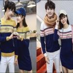 PRE-ORDER ชุดคู่รักเกาหลีใหม่ ชุดเชตกันหนาวไหมพรมคลุมน่ารักๆ ญ.เดรสสั้นกันหนาว/ช.เสื้อกันหนาวแขนยาว
