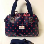 กระเป๋าถือ+สะพาย Chalita wu สีกรม ลายจุด