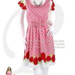 pd2537 - ชุดกระโปรง ผ้าcotton สีชมพูพิมพ์ลายจุดสีเทา ผ้าลายเชิงลายดอก พร้อมเข็มขัดผ้า ซับในช่วงกระโปรง สวยน่ารักดีค่ะ