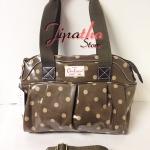 กระเป๋า Chalita wu + สายสะพาย สีน้ำตาล ลายจุด