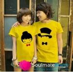 เสื้อคู่รัก ชุดคู่รัก เสื้อคู่ เสื้อยืดคู่รักผ้าฝ้าย สีเหลือง, ลายการ์ตูนผู้หญิง ผู้ชาย