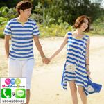 เสื้อคู่ เสื้อคู่รัก ชุดพรีเวดดิ้ง ชุดคู่รัก เสื้อคู่รักเกาหลี เสื้อผ้าแฟชั่น ผู้ชายเป็นเสื้อคอกลม+ผู้หญิงเป็นเดรสแขดกุด ลายขาวฟ้า-ขาว ประคอสีเหลือง ชายกระโปรงเป็นหางปลา ใส่เดินชิว เที่ยวทะเล ถ่ายพรีเวดดิ้งได้สวยงามมากๆคะ