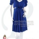 an006 - ชุดไปงานสีน้ำเงิน ผ้าเนตเนื้อนิ่มยืด ช่วงแขนแต่งเป็นดอกทิวลิป แต่งดอกไม้พร้อมคริสตัลใต้อก ซับในทั้งตัว สวยหรูดูดีค่ะ